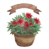 Red Flower in a flowerpot — Stock Vector