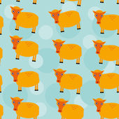 Seamless pattern with funny cute sheep animal on a blue backgrou — Wektor stockowy