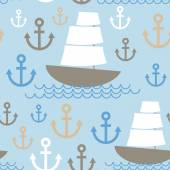 Light Blue Seamless background. Boat with white sails, sea ancho — Stockvector