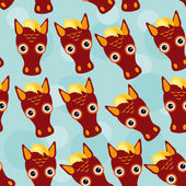 Horse Seamless pattern with funny cute animal face on a blue bac — Stock Vector