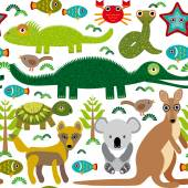 Animals Australia: snake, turtle, crocodile, alligator, kangaroo — Stock Vector