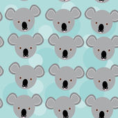 Koala Seamless pattern with funny cute animal face on a blue bac — Stock Vector
