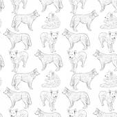 Seamless pattern with dogs. Shepherd. Sketch drawing. Black contour on a white background. vector — Wektor stockowy