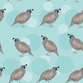Seamless pattern with funny cute quail bird on a blue background — Stock Vector