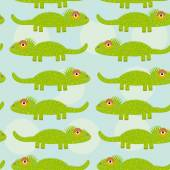 Funny green iguana Seamless pattern with cute animal on a blue b — Stock Vector