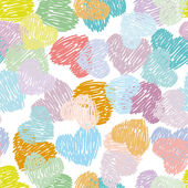 Seamless pattern with sketch hearts Pastel color on a white back — Stock Vector