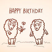 Happy birthday card. Funny sheep girl and boy with flower. Sketc — Wektor stockowy