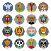 Set of animals faces circle icons set in Trendy Flat Style. zoo — Stockvektor