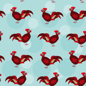 Seamless pattern with rooster bird — Stock Vector