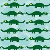 Funny green crocodile Seamless pattern with cute animal on a blu — Stock Vector