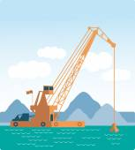Modern style flat Huge crane barge Industrial ship that digs sand, marine dredging digging sea bottom. quarry ore earth. Vector — Stock Vector