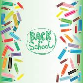 Back to School Flat colored pencils on white and green backgroun — Stock Vector