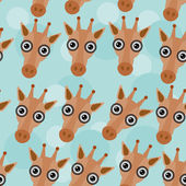 Giraffe Seamless pattern with funny cute animal face on a blue b — Stock Vector