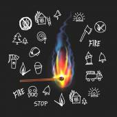 Burning match on a black background. Fire. Set sketch symbol out — Stock Vector