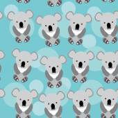 Koala Seamless pattern with funny cute animal on a blue backgrou — Stock Vector