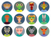 Chinese zodiac collection, Set of animals faces circle icons in Trendy Flat Style. infographics design. vector — Wektor stockowy