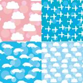 Seamless pattern set sunset, sunrise, sky, clouds white silhouet — Stock Vector