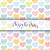 Happy Birthday Card with sketch hearts — Stock Vector