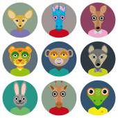 Set of animals faces circle icons set in Trendy Flat Style. zoo — Stock Vector