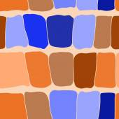 Reptile skin seamless pattern blue and orange spots background.  — Stock Vector