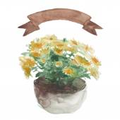 Yellow flower in a flower pot — Stock Vector