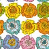 Elegance Seamless pattern orange, blue, yellow, pink, green flow — Stock Vector