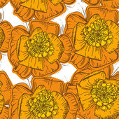 Abstract Elegance Seamless pattern orange flowers with brown con — Stock Vector