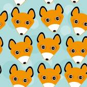 Fox Seamless pattern with funny cute animal face on a blue backg — Stock Vector