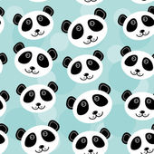 Panda Seamless pattern with funny cute animal face on a blue bac — Stock Vector