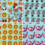 Set 4 Seamless pattern with funny cute animal face on a blue bac — Stock Vector