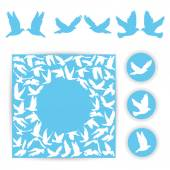 Set design wedding card. White doves on a blue background. Silhouette of bird. vector — Vecteur