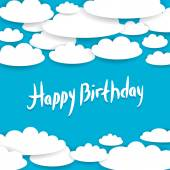 Abstract blue background, sky, white clouds. Happy Birthday Card — Stock Vector