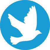 Flying dove for peace concept and wedding design. white on a blu — Stockvektor