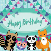 Funny animals. Owl, fox, raccoon, panda. Happy birthday card. Vector — Stock Vector