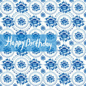 Happy Birthday Card. Vintage shabby Chic pattern with blue flowe — Stock Vector