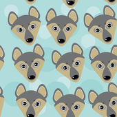 Dog Wolf Seamless pattern with funny cute animal face on a blue  — Stock Vector