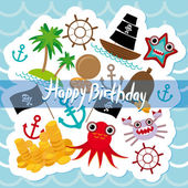 Happy Birthday Card pirate. Cute party invitation animals design. vector — Stock Vector