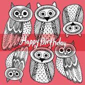 Happy birthday with Owl — Stockvektor