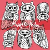 Happy birthday with Owl — Stok Vektör