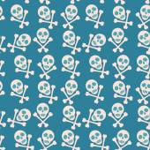 Blue seamless background. Skull and bones. Pirates. vector — Stock vektor