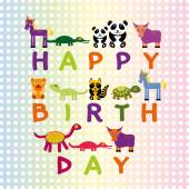 Happy birthday card on pastel color background Funny Animals. Ve — Stock Vector
