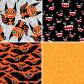 Happy Halloween set of four seamless patterns. Bats, monsters. V — Stock Vector