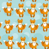 Seamless pattern with funny cute fox animal on a blue background — Stock Vector