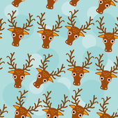 Deer Seamless pattern with funny cute animal face on a blue back — Stock Vector