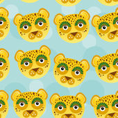 Leopard Seamless pattern with funny cute animal face on a blue b — Stock Vector