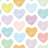 Seamless pattern with sketch hearts on a white background. Paste — Stock Vector