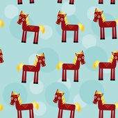 Brown horse with yellow mane Seamless pattern with funny cute an — Stock Vector