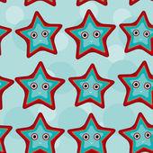 Modello senza saldatura con animale divertente e carino stelle marine su un blu backgr — Vettoriale Stock