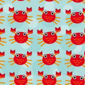 Red crayfish Seamless pattern with funny cute animal on a blue b — Stock Vector