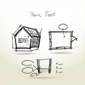 House plan sketch project — Stock Vector